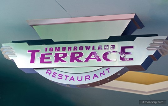 The Tomorrowland Terrace sign, above the south west entrance.