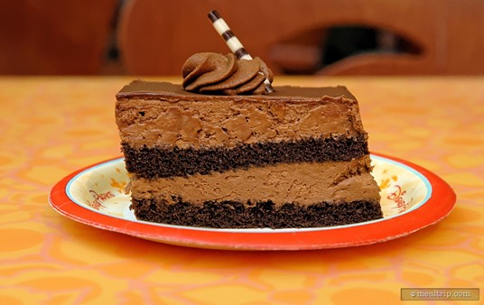 The very yummy Chocolate Mousse Cake ($4.99 circa Fall 2016) is available all day long at Sunshine Seasons.