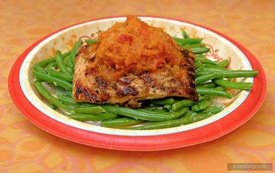 "Oak-grilled Salmon with Green Beans. The ""oak grilled"" entrees are located at the cooking station that's far right, closest to the Soarin' attraction."