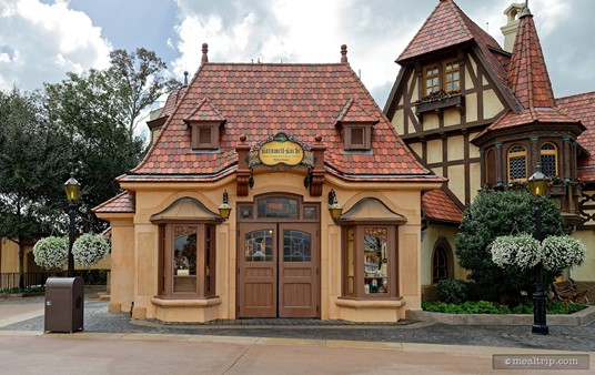 The cute Karamell Kuche building is located on the left side of the Germany Pavilion (with the WorldShowcase Lagoon to your back). The doors pictured here though, are seldom used. The main entrance is located in the building pictured on the right.