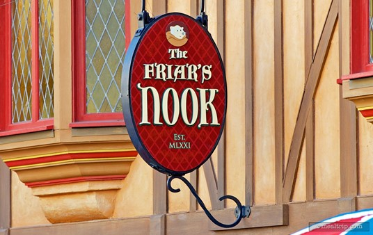 Sign over The Friar's Nook, a counter service location in Fantasyland.