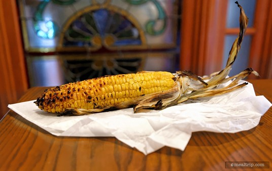 "The grilled corn from the Liberty Market is crisp, smokey, and a little sweet... unlike canned or boiled corn, which can start to get ""milky"" if allowed to sit for too long."