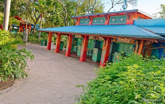 The order-taking and food distribution area at Animal Kingdom's Flame Tree Barbecue.