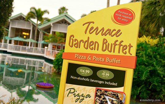 Menu board in front of the Terrace Garden Buffet.