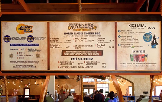 Voyager's Smokehouse Menu (photo taken Fall 2017).