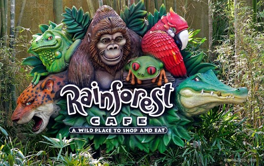 Inside Animal Kingdom, there is a sign and side walkway into the Rainforest Cafe.