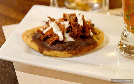 A pork tostada was one of three food items to pair with the Tequila.