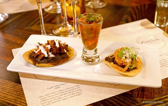 The Wind Down event at La Cava also included three food items to pair 