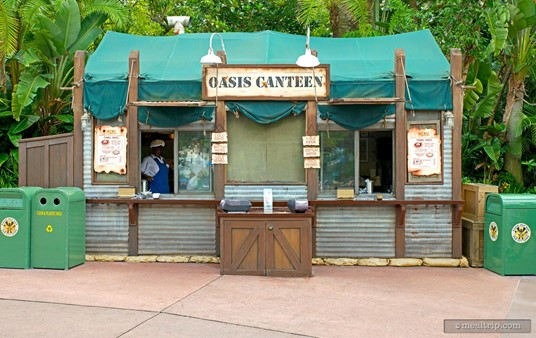 The Oasis Canteen is located opposite of Dinosaur Gertie's Ice Cream, in the Indiana-Jones area at Hollywood Studios.