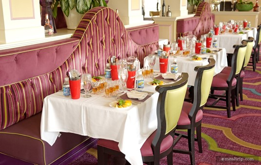 The tables are set up for the Shake and Indulge Like the French event at Monsieur Paul, located above Chefs de France.