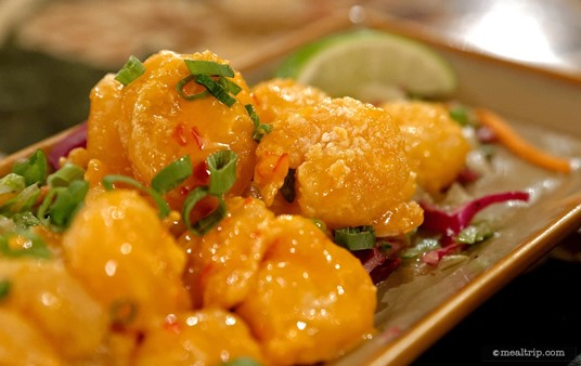 The Firecracker Shrimp appetizer at Yak and Yeti features Crispy fried shrimp tossed in a creamy, spicy sauce, Asian slaw.