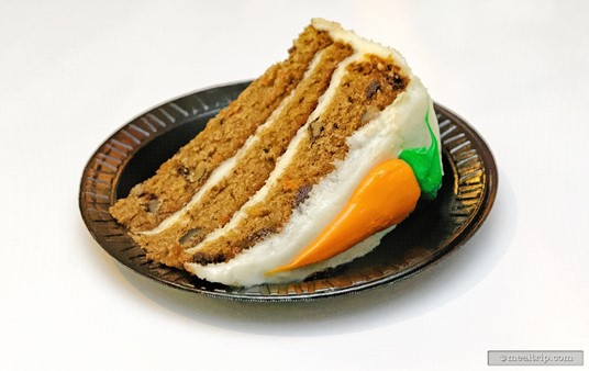 A slice of spice-carrot cake is one of the dessert options that you will find at most counter service locations. This carrot cake is from the Zagora Cafe.