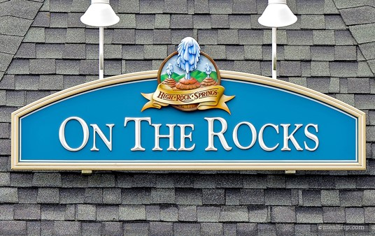 "The poolside ""On the Rocks"" sign at Disney's Saratoga Springs resort."