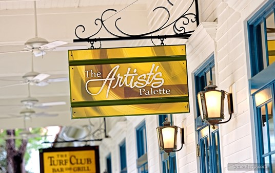 The bright Artist's Palette sign hangs just outside the front entrance of the restaurant.