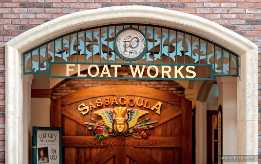 The lobby entrance to the Sassagoula Floatworks restaurant at Disney's Port Orleans French Quarter resort.