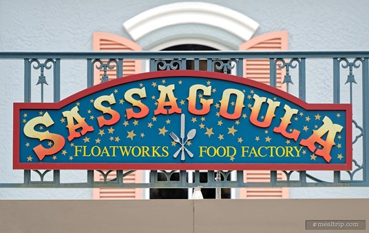Exterior signs mark the Sassagoula Floatworks restaurant at Disney's Port Orleans French Quarter resort.