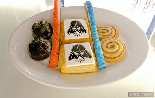"""The full Star Wars Breakfast Pastries plate from the Galactic Dine-In Breakfast. Each """"car row booth seat"""" received one of these plates, no matter if there were one or two guests sitting there. If you didn't want to """"share"""" yours with your dining companion, just ask for another plate... they will be more than happy to bring another."""