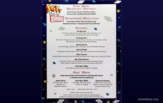 A 2015 menu from the Star Wars Dine-In Breakfast at Hollywood Studios.