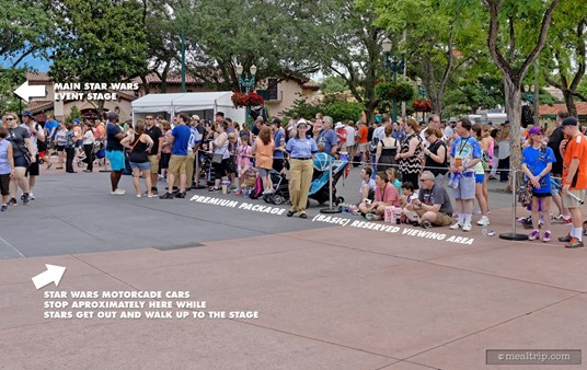 Premium Package guests without the need for wheelchair viewing have access to the west facing strip of the route, as this offers a good view of the stars getting out of the motorcade cars, and walking up on the stage area.