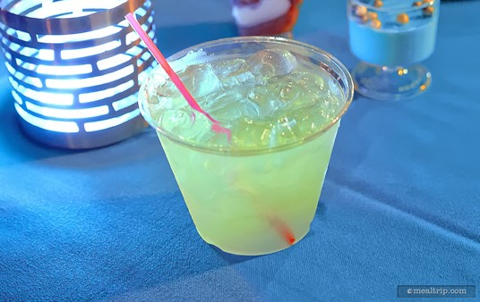 """The """"Jedi Mind Trick"""" is a green apple lemonade (I honestly didn't know there was such a thing as apple lemonade, wouldn't that be appleade?), mixed with coconut rum."""