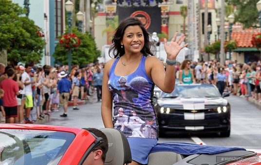 """This photo of Tiya Sircar, voice-over actress for """"Star Wars Rebels"""", was not taken from the Premium Package area, but from a side-street location that I just walked up to for everyday guests. It was the closest that I could get to the celebrity motorcade that day. I'm just saying."""