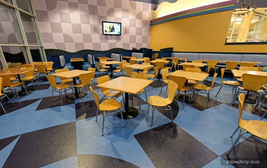 "There are many dining areas at Everything Pop, this is one of the ""blue"" rooms."