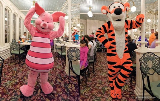 Here's Piglet and Tigger at the Crystal Palace Character Breakfast!
