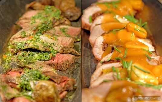 The Marinated Flank Steak (left) may not look like much, but it was actually one of the highlights from the hot-line items section. Also struggling with appearances, the Apricot Roasted Pork (right) is yummy... if you like apricots.