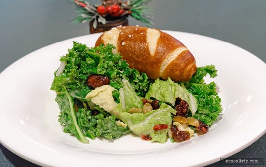 "The Winter Kale and Cabbage Salad with Pumpkin Seeds and Dried Craisins® is new to the ""Holiday Dine"" menu, and is actually a great salad! I'm not sure how that pretzel roll got on there!"