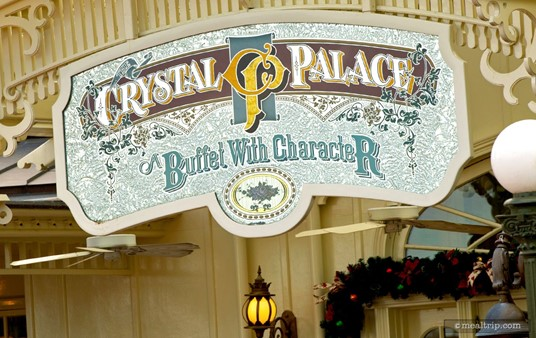 The Crystal Palace sign, hanging over the front entrance.