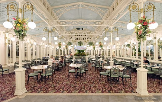 This is a view of the east dining area. The Crystal Palace has two main dining rooms.