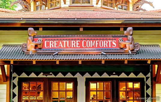Monkeys with coffee cups! Ha!!! The Creature Comforts sign above Animal Kingdom's Starbucks location.