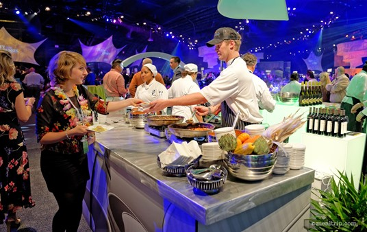 "The Party for the Senses events are ""all inclusive"" which means once you are in, you just walk up to any culinary or beverage station, and they hand you whatever they're offering. There's no additional charge for anything. You can visit each station as many times as you would like."