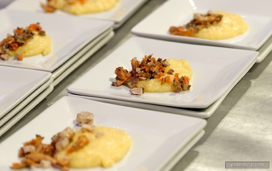 A Mushroom Crusted Veal Medallion with Fontina Polenta from chef  Chef Piero Premoli at the 2014 Party for the Senses.