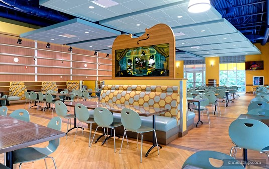 The main seating area at the Intermission Food Court at Disney's All-Star Music Resort.