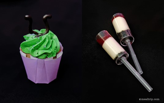 From the Maleficent dessert station, a Purple Angel Food Cupcake with Chocolate Evil Horns and two Red Wine Cheesecake Pushups with Dark Cherry Gel.
