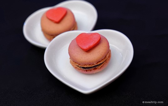 Red Macarons with Red Hearts from The Queen of Hearts dessert station.