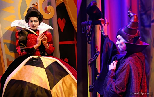 The Queen of Hearts and Maleficent are on opposite sides of the main room.