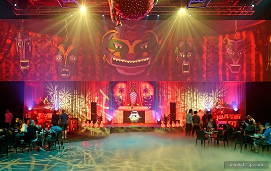 The center of Club Villain features a large performance space that also doubles as a dance floor while the DJ is playing tunes.