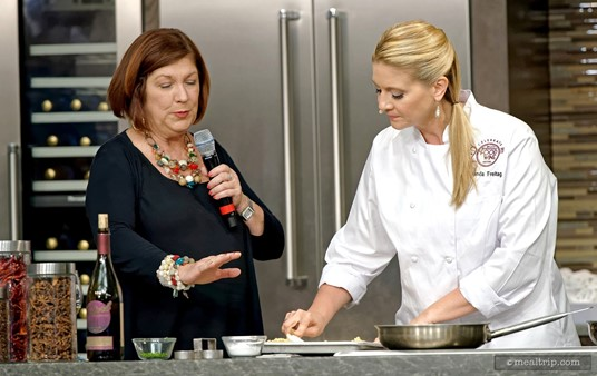 Chef Amanda Freitag and Pam Smith at a 2015 Epcot Food & Wine Culinary Demo.
