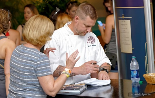 VOLT's Chef Bryan Voltaggio takes time to meet with guests after one of the Epcot Food and Wine Festival Culinary Demos.