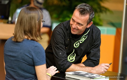 Chef Kevin Dundon meets with guests after the Culinary Demonstrations that are part of Epcot's Food and Wine Festival.