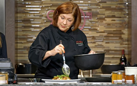 Pamela Smith RDN, Festival Host, Culinary Nutritionist and Author gets to cook at a few of the culinary demos each year, and food is always amazing!