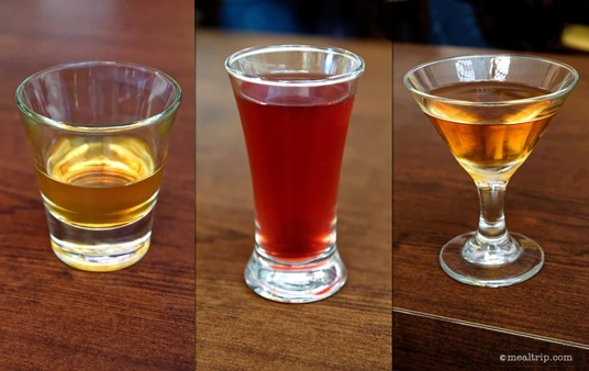 "These are the sample-sized cocktails that each guest received at a 2015 Jack Daniels Mixology Seminar. Pictured from left to right... ""Old is New Again (Olde-Fashioned), Jack's Horse and Carriage (Whiskey Mule), and the Gentleman's Manhattan."