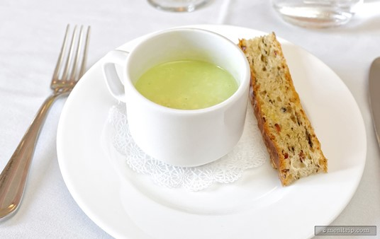 A Cold Pea Soup with Bacon Mushroom Toast was the first of three mini-courses at the Parisian Lunch.