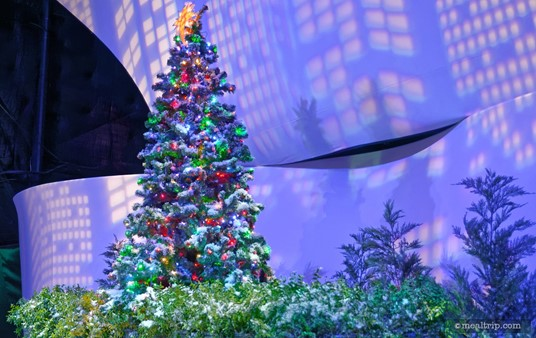 A holiday in the city vignette at Epcot's New Years Eve dining event in World ShowPlace.