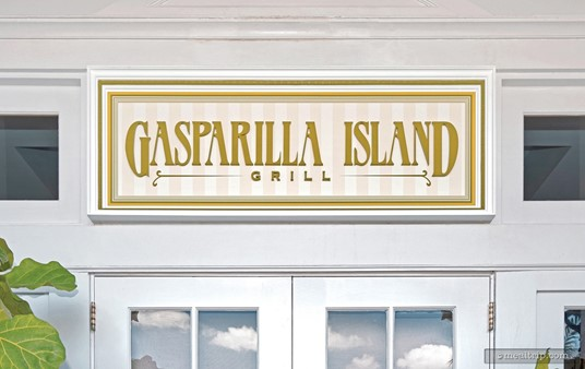 This sign marks the Gasparilla Island Grill's main entrance door.