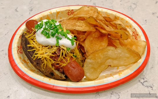 Prior to their renovation in early 2017, Gasparilla Grill used to offer a different stuffed baked potato for each day of the week. Pictured here is the Loaded Hot Dog Baked Potato.