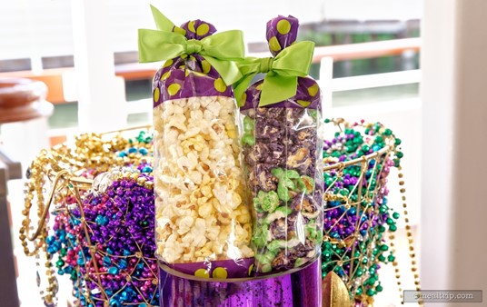 Like all the treats at Tiana's Riverboat Party, you can pretty much just eat as much as you would like. Pictured here are the buttered and sugar popcorn bags.