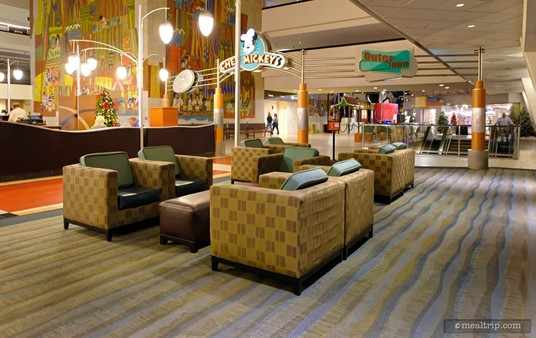 Closer to the concourse, there is more lounge style seating. There can be quite a lot of foot-traffic out here though. There's not much separation between the lounge and the main walkway to Chef Mickey's.